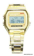 Digitale Retro Armbanduhr viele extras Uhr Alarm Stoppuhr Edelstahl gold /silber