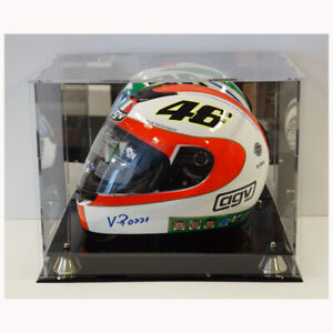 MOTORCYCLE MOTO GP ACRYLIC DISPLAY CASE WITH GOLD RISERS MIRROR BACK FINISH