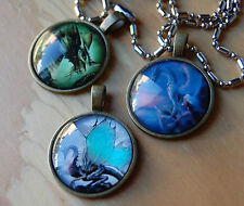 "3 Dragon Pendants,Cabochon Necklace,One 28"" Chain,fantasy,lotr,smaug,MTG,WoW"
