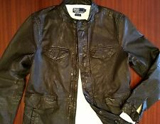 New Rare Distressed 100% Genuine Buffalo Leather Jacket Antique Brown Men's M L