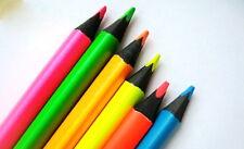 Retro Neon Black Wood Colour Pencil Marker Thick Pencils X6 Set!