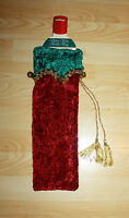 "Velvet Wine Bottle Christmas Cover Bag Green Burgundy Gold Trim w Bells 15""L"