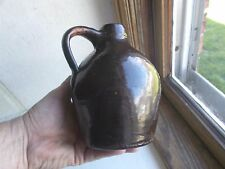 LITTLE BROWN OVOID STONEWARE JUG 1870s WITH APPLIED HANDLE