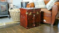 Antique English Leather Belted Campaign Style Chest Side Table Trunk