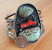 Large Vintage Navajo Sterling Silver Spiderweb Turquoise and Coral Cuff Bracelet