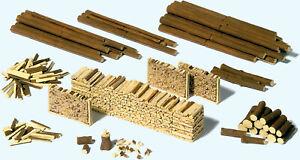 Preiser HO Scale Model Scenery Detail Set Trunks/Logs/Woodpiles/Lumber (Kit)