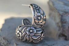 OLD VINTAGE ORNATE STERLING SILVER FLOWER WIDE EARRINGS