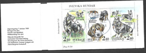 SWEDEN - 1989 Swedish Dogs - COMPLETE BOOKLET - 2 USED MINIATURE SHEETS.