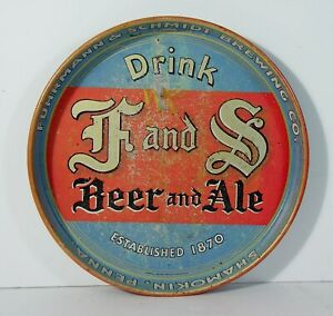 1930s FUHRMANN & SCHMIDT BREWING CO TIN LITHO ADVERTISING BEER TRAY - F & S BEER