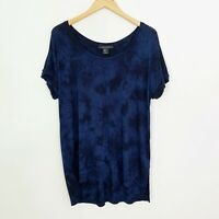 Tahari Women's Tie Dye Short Sleeve Top Blouse Blue Black Relaxed Fit size Large