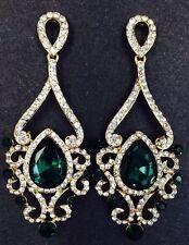 18K Gold Plated Emerald Green Crystal Rhinestone  Dangle Fashion/Party Earrings