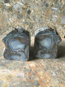 Dugway Geode, Pair of Bookends, Stunning Patterns, Reiki Healing Crystal