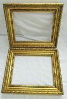 "2 ANTIQUE FITS 6.5 X 8.75"" GOLD PICTURE FRAMES WOOD ORNATE FINE ART COUNTRY"