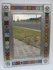PUNCHED TIN MIRROR mixed talavera tile mexican folk art mirrors wall decoration