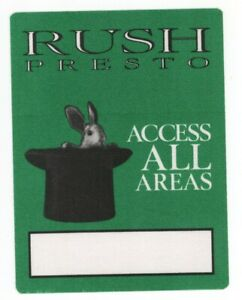 Rush the band 1990 Presto Tour GENUINE Green ACCESS ALL AREAS Backstage Pass!