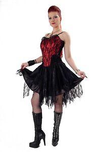 Tabatha Gothic Short Dress Satin Panel Phaze Clothing Goth Alternative Lace