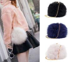 Fluffy Genuine Fur Round Clutch Bag Chain Cross Body Handbag Purse Multi Colors