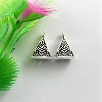 30pcs Antiqued Silver Alloy Triangle Bails Charm Pendant Jewelry 15*10*6mm 51550