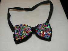 SEQUIN BOW TIE RAINBOW MULTI COLOR BOWTIE TUXEDO PROM MEN / WOMEN MATCHES ALL SM