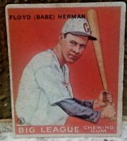 1933 Goudey R319 #5 Floyd (Babe) Herman Low Number Raw About Vg/Vg+