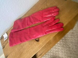 Henri Bendel Leather Driving Gloves 100% Cashmere Pink Long Size 6 NWT FLAWED