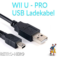 Wii U PRO Ladekabel USB Charger Data Sync Power Cable Charging Lead Gamepad NEW