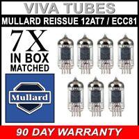 Brand New Mullard Reissue ECC81 12AT7 Gain Matched Septet (7) Vacuum Tubes