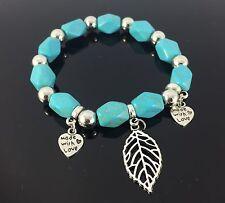 Tibetan Turquoise Bead Gemstone Bracelet Beads Bangle Beaded Leaf Charm Design