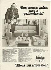 Publicité 1981 TOUSALON salon en cuir véritable coussins amovibles