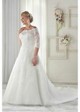 Tulle Off-the-shoulder Neckline A-line Plus Size Wedding Dresses with Beaded