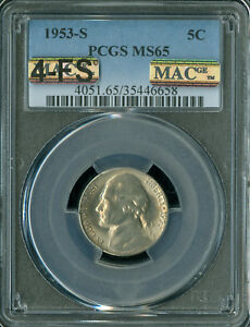 1953-S JEFFERSON NICKEL PCGS MAC MS65 4-FS PQ RARE SPOTLESS $20,000.00 FOR A FS