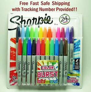 Sharpie Fine Point Permanent Markers 24 Assorted NEW ColorsBURST Limited Edition