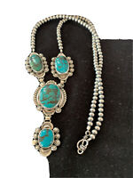 """LARIAT Navajo Sterling SILVER Spiderweb TURQUOISE Necklace Pendant 25"""" 01337"""