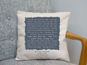 Norah Jones 'Come Away With Me' Personalised Cushion 2nd Cotton Anniversary Gift