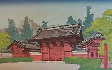 Very Fine Japanese Woodblock Mokurei Nakagawa Temple Entrance Ca.1977