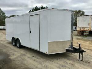 NEW 8.5X20 V-NOSE ENCLOSED CAR HAULER CARGO UTILITY TRAILER , LED'S, 8.5 x 20