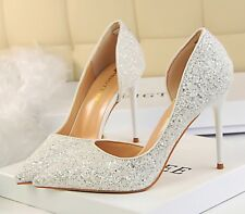 Womens Stilleto White Glitter Shoes UK Size 6, EU 38.5 Wedding Party 4 inch Heel