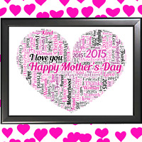 Personalised Mummy Mum I LOVE YOU Heart Word Art Mothers Day Gifts Her Birthday