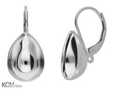 Sterling Silver leverback earring for Swarovski 4320 14 mm kz 88 (1 pair)
