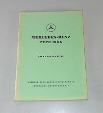 Manuale di istruzioni/owner'S MANUAL MERCEDES w121 Ponton 190 B STAND 01/1961