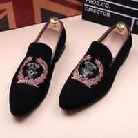 Mens Velvet Slippers Loafers Slip on Dress Shoes Casual Men's Black Driving Shoe