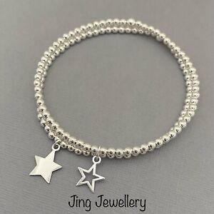 Sterling Silver Star Beaded Stretch Stacking Bracelets Set Of 2, Handmade Gift