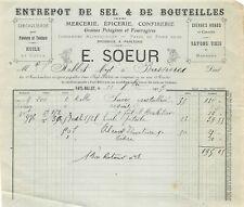 Faacture - Warehouse of Salt & Bottles a. S. E. a. N.Sister to Fayl-Billot 1905