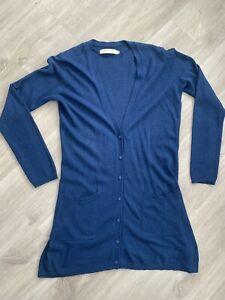 Seasalt Cornwall Deluxe Knitwear Blue Cardigan Merino Wool/alpaca Mix Size 12
