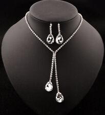 UK Wedding Bride Bridesmaid Jewelry Set Crystal Diamond Pendent Necklace Earring