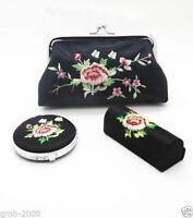 Chinese Handmade Black Silk Embroidery Cosmetic Mirror&Lipstick Box&Purse A Set