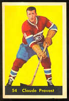 1960 61 PARKHURST HOCKEY #54 CLAUDE PROVOST VG-EX MONTREAL CANADIENS CARD
