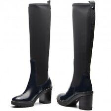 Tory Burch Preston 95mm Lug Sole Boots Petrol Blue/ Perfect Black Sz 7 NIB $695