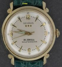 2340, Vintage Benrus 14K solid gold, 23 Jewel Self Winding w/great lugs,