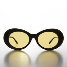Black Kurt Cobain Oval Cat Eye Sunglass with Yellow Tinted Lens - Lulu